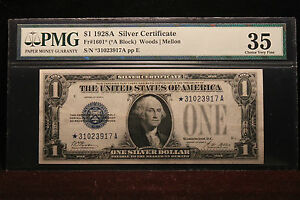 "1928A $1 Star Funny Back PMG 35 Ch V F Fr. 1601* ""Beautiful"" ""Rare"""