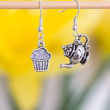A Pair Antique Silver Teapot Cupcake Dangle Earrings