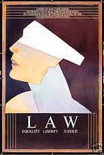 Original Vintage Poster Law American Bar Constitution Blind Justice Glaser 1980s