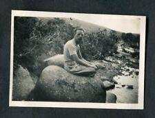 C1920s Original Photo: Man Sitting on a Rock, Dartmoor