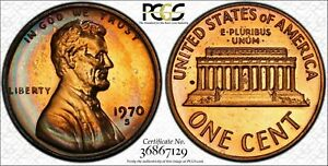 1970-S Lincoln Memorial Cent Penny PCGS PR67RB Large Date Red Blue Color Toned