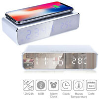 Digital Led Alarm Clock With Smartphone Wireless Qi Charger Temperature Display