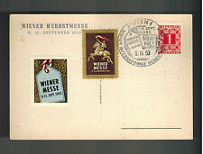 1953 Vienna Austria Postcard Cover International Trade Fair Messe