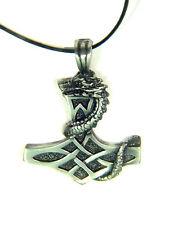 BUTW-  Thor's hammer dragon on cross Mjollnir celtic norse pewter pendant 1835B