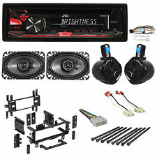 "Jeep Wrangler YJ 87-95 JVC Stereo CD Player Radio+Kicker 4x6""+Rollbar Speakers"