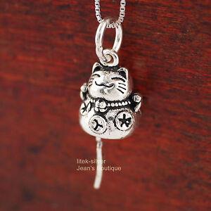 1x 925 Sterling Silver Lucky Cat Maneki-neko Pendant Charm no chain DIY A2063-S