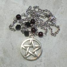 Pentagram Necklace Pendant Jewelry Dark Garnet Red And Black