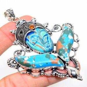 "Goddess Face Mosaic Jasper, Citrine Handmade Ethnic Jewelry Pendant 3.66"" TN-275"