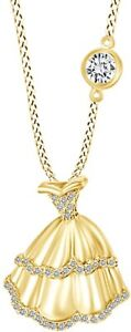 Princess Gown Birthstone Pendant Necklace In 14k Yellow Gold Over Sterling