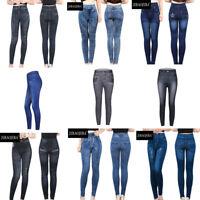 Ladies Jeggings Leggings Stretchy Skinny Jeans Trousers In Black Or Blue