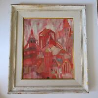 MID CENTURY ABSTRACT EXPRESSIONIST PAINTING MYSTERY ARTIST CITYSCAPE ROOF TOPS