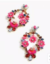 Warm Pink With Bag! J.Crew Floral Statement Earrings! New$65