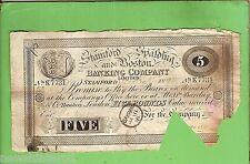 #D259. 1895  STANFORD SPALDING & BOSTON BANK 5 POUND BANKNOTE #K7731