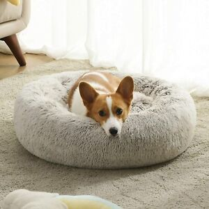 Faux Fur Pet Cat Dog Calming Bed Plush Anti Anxiety Donut Cuddler Round Kennel