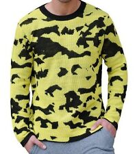 NWT $90 Cheap Monday Moe Overdye Crew Neck Sweater in Yellow & Black Camo sz L