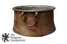 """Primitive Antique Copper Cauldron Apple Butter Kettle Pot 20"""" Hammered Rustic"""