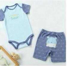 66031-5 Carter's Baby Blue Bear Design Romper + Shorts + Bib
