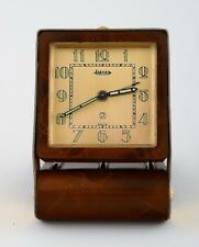 Art deco travel alarm clock, tortoiseshell and brass, Jaeger (LeCoultre) ca 1930