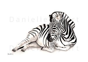 Watercolour Zebra Print - zebra painting, wild animal art, nursery prints