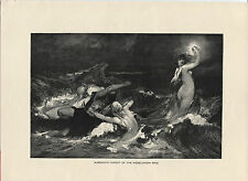 Wagner: Alberich's Pursuit of the Nibelungen Ring. 1892 wood engraving print.