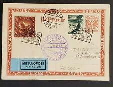 1933 Vienna Austria WIPA Cancel Four Countries Flight Air Mail Postcard Cover