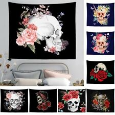 Skull & Flowers Wall Hanging Tapestry Bedspread Throw Tapestries Bohemian Decor