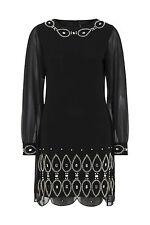 Ladies Gatsby Flapper Black Shift dress sizes 8 10 12 14 16 18 20 22 24