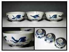 EDO ERA Collection [ FIRST OLD IMARI ] TEA BOWL / 古伊万里 染付波に枝喰鳥文 小服茶碗 三客