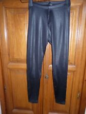 H&M leggings noir brillant satin XS 34 longs