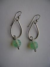 Glass Bead Hook Earrings New Sterling Silver Blue Green Swirl