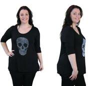 New Ladies Plus Size 3/4 Sleeve Embellished Stud Skull Dip Hem Long Tunic Top