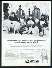 1970 Samoyed sled dog team photo Maytag washer dryer vintage print ad