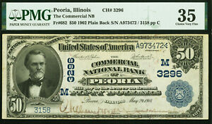 Peoria, Illinois - 1902 $50 National - PMG 35 Plain Back - CH# 3296 # A973472