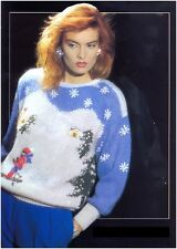Ladies' Mohair Winter Skiing Scene Sequin Trim Sweater Vintage Knitting Pattern