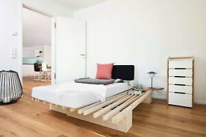 Tojo-V Bett ausziehbar von 90x200cm - 180x200 cm Gästebett Buche Multiplex