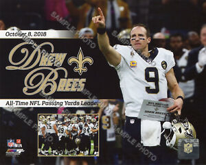 Drew Brees Breaks the NFL All-time Passing Yards Record 8X10 PHOTO