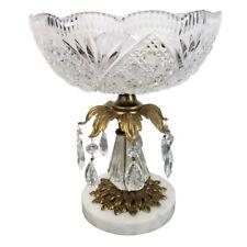 New listing Hand Cut Bavarian Crystal Pedestal Fruit Bowl Marble Brass 7 Prism Boho Regency