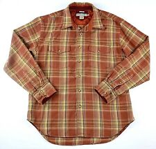 Quicksilver  Edition Mens Plaid Long Sleeve Shirt Quilted Neck Western Brown Med