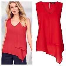Kaleidoscope Size 12 Red Asymmetric Layered Sleeveless Summer TOP Holiday £35