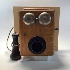 Vintage Kellog Wooden Wall Crank Telephone Wooden Hand Crank