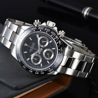 39mm PARNIS Black Dial Sapphire Crystal Soild full Chronograph Quartz Mens Watch