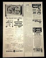 Life Magazine Ad GENERAL ELECTRIC Twin-Fan Ventilator 1954 Ad