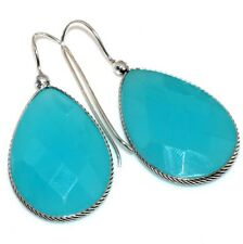 "Silver Plated Earrings 1.8"" X18439 Blue Chalcedony 925 Sterling"