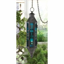 Beautiful Blue Sapphire Glass & Black Ornate Serenity Hanging Candle Lantern NEW