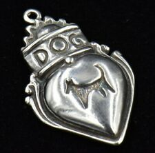 Vintage DOG Heart Crown Knocker Sterling Silver Charm 925 Tag Silhouette Love