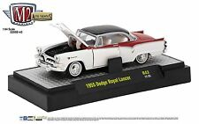 1:64 M2 Machines *AUTO-THENTICS R43* White & Red 1955 Dodge Royal Lancer *NIB*