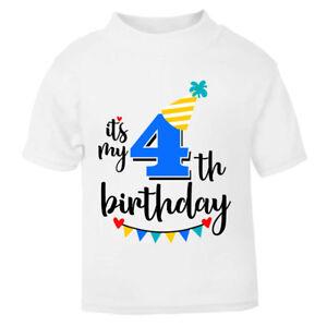 It's My 4th Fourth Birthday T-Shirt Childrens Kids T Shirt Boys Cake Smash NEW
