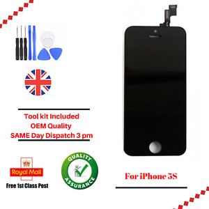 For Apple iPhone 5S Black LCD Screen And Digitizer Assembly With Frame + Tools