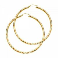 14K Tri Color Yellow Gold 3 mm Hoop Earrings 6 sizes Extra Large to Extra Small