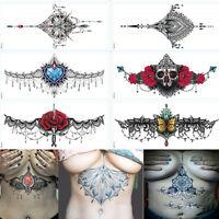 Pegatinas de tatuaje temporal sexy impermeable pecho volver colorido pegatina